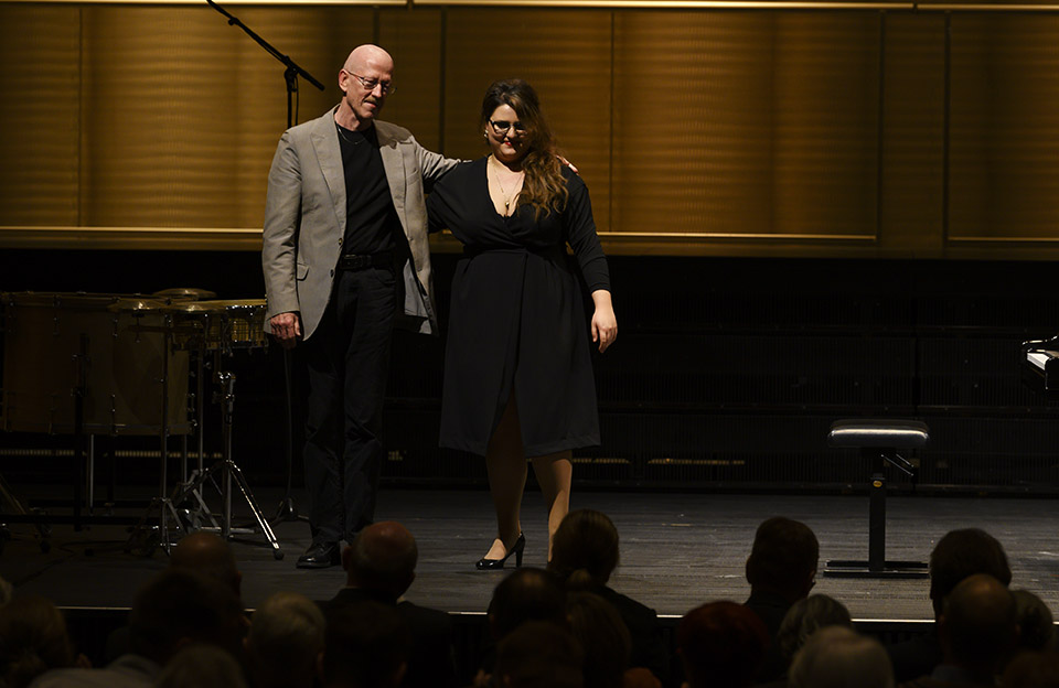 Martin Schlumpf, composer 'December Rains' with Larisa Baghdasaryan, scholarship holder Rahn Kulturfonds